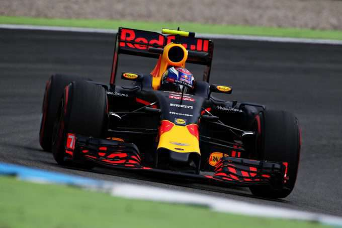 HOCKENHEIM, GERMANY - JULY 29: Max Verstappen of the Netherlands driving the (33) Red Bull Racing Red Bull-TAG Heuer RB12 TAG Heuer on track during practice for the Formula One Grand Prix of Germany at Hockenheimring on July 29, 2016 in Hockenheim, Germany.  (Photo by Charles Coates/Getty Images)