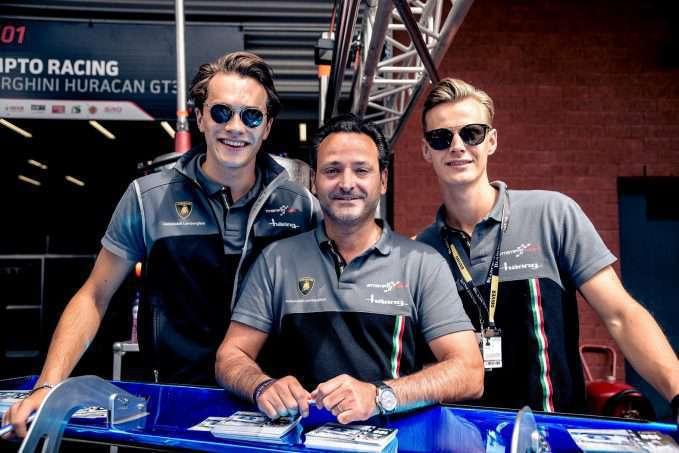 Lamborghini Leusden - v.l.n.r. Max van Splunteren, Louis Machiels en Jeroen Mul voor de start van de Spa 24 Hours race 160730