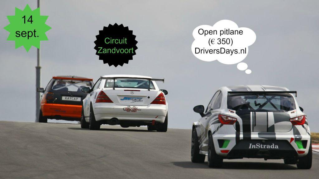 14 September Circuit Zandvoort Testdag.  DriversDays biedt een trackday aan met open pitlane
