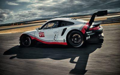 Sterk Porsche veld tijdens 24 uur van Daytona