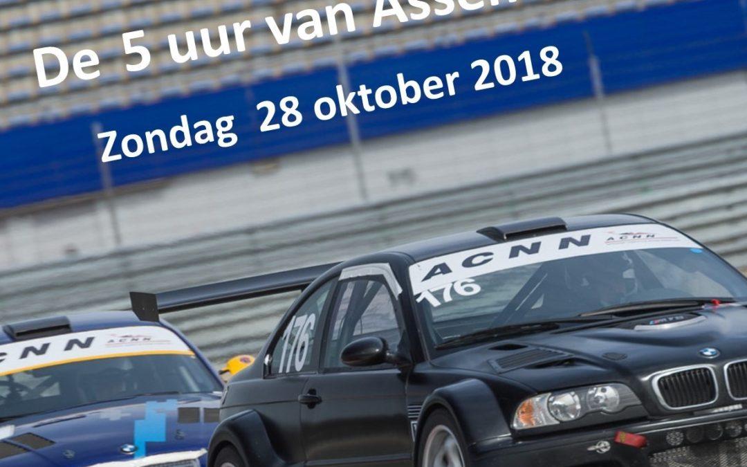 ACNN organiseert wederom de 5 uur van Assen endurance race op zondag 28 oktober 2018.