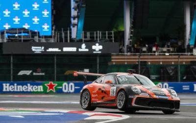 Larry ten Voorde geeft alles tijdens de Porsche Mobil 1 Supercup